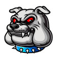 bulldog head with red eyes and using