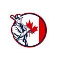 Canadian Baseball Batter Canada Flag Circle vector image vector image