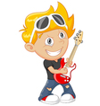 Cartoon boy playing guitar vector image vector image