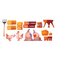 chickens straw bags with harvest and fork vector image