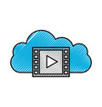 cloud video play button digital movie film vector image