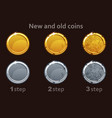 coin icon gold and silver coins 3 steps vector image