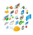 construction business icons set isometric style vector image vector image