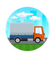covered truck on the road icon vector image