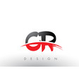 cr c r brush logo letters with red and black vector image vector image