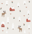 Cute festive christmas seamless pattern with moose
