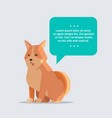 cute shiba inu dog with chat bubble speech furry vector image vector image