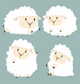 cute white little sheep set vector image vector image
