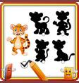 find the correct shadow cartoon funny tiger wavin vector image vector image