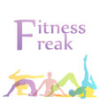 fitness freak graphic with yoga poses silhouette vector image vector image