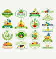 fruits and vegetables logos labels fruits and vector image