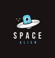 fun space alien spaceship logo icon vector image