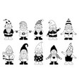 gnome cartoon funny nordic dwarf black and white vector image