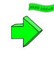green arrow next straight sign hand drawn sketch vector image vector image