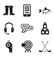 guide icons set simple style vector image vector image