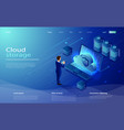 isometric cloud hosting network vector image vector image