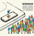 isometric graph people finance webinar vector image vector image