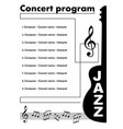 jazz concert program template with cut out of vector image