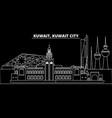 kuwait silhouette skyline city kuwaiti vector image vector image