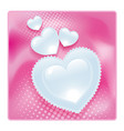 lace glossy hearts pink valentines post card vector image vector image