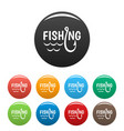 lake fishing hook icons set color vector image