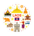 laos travel attraction label vector image vector image