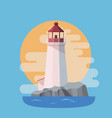 lighthouse in the sea with sunset in the evening vector image vector image