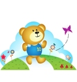 Little bear chasing butterfly vector image vector image