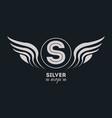 luxury silver wings vector image