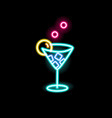 neon sign cocktail in glowing glass on black vector image