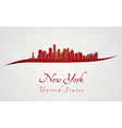 New York skyline in red vector image vector image