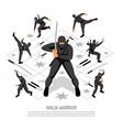 ninja warrior poster vector image