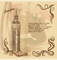 old card with london city sights big ben vector image vector image