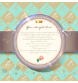 Old invitation card with round label on green vector image