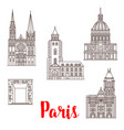 paris travel landmarks buildings line icons vector image vector image