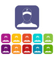 parking attendant icons set vector image vector image