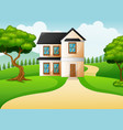 rural landscape with green meadow and house vector image