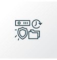 secured backup icon line symbol premium quality vector image vector image
