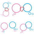 Set of pink and blue bubble chat and heart vector image vector image