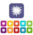 terrible explosion icons set flat vector image vector image