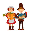thanksgiving day children apples and turkey vector image vector image