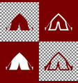 tourist tent sign bordo and white icons vector image vector image
