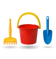 toys for sandbox baby bucket rake scapula vector image