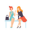two beautiful women friends sitting on bench and vector image vector image