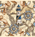 watercolor nautical theme seamless pattern vector image