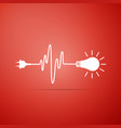 wire plug and light bulb icon on red background vector image vector image