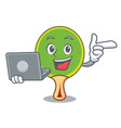 with laptop ping pong racket character cartoon vector image vector image