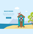wooden bungalow on tropical coast sea beach vector image
