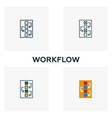 workflow icon set four elements in different
