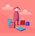 young woman shopaholic stand surrounded with many vector image vector image